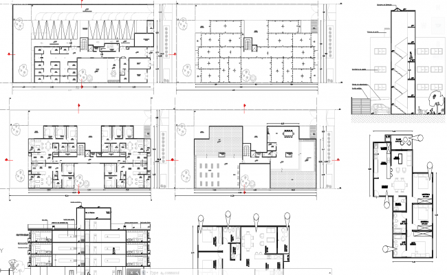 2 and 3 bhk apartment architecture design in autocad dwg files for Apartment plans autocad