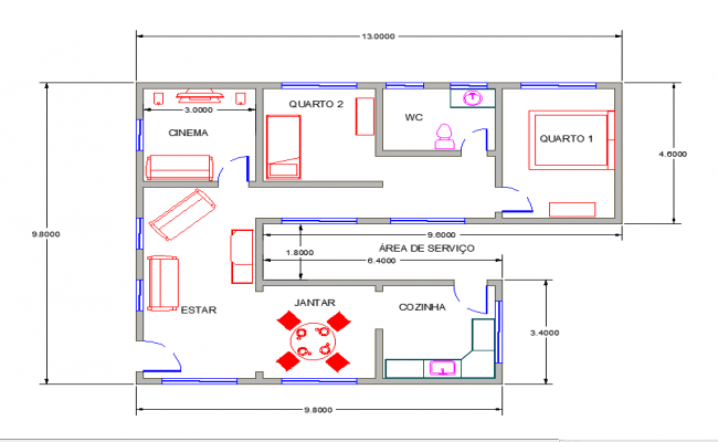 2d simple floor plan with dimensions for Basic 2d room planner