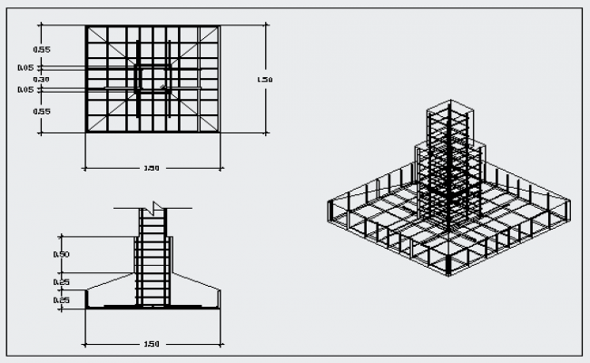 Foundation Detail Drawing Of Shoe Foot Block Design Drawing