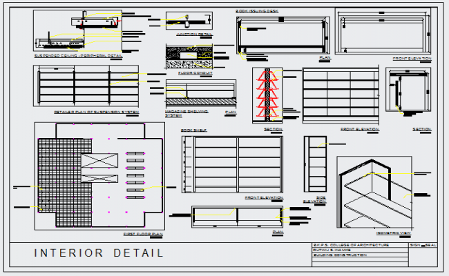 Interior Design Of Furniture Detail Drawing In Library