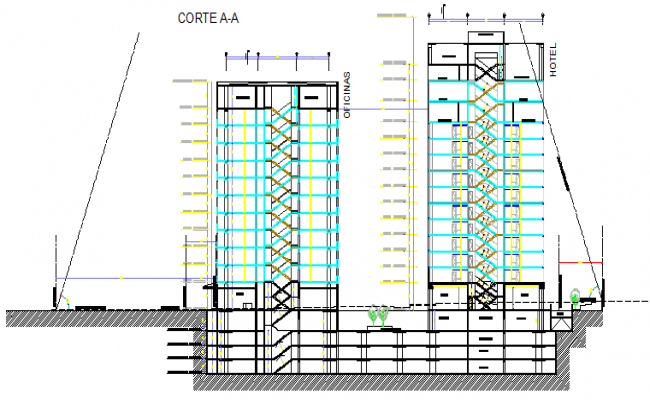 Section design drawing of office building design drawing