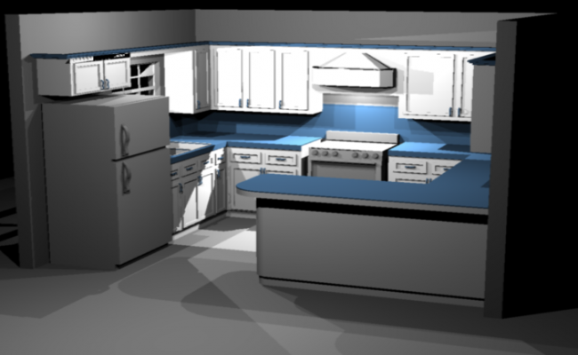 3d Modular Kitchen