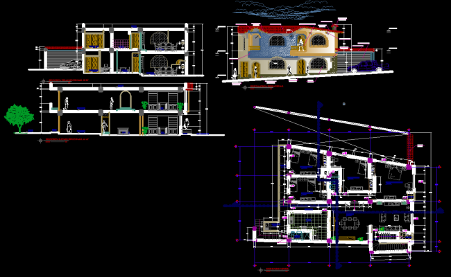 Modern home design dwg for Villa plan dwg