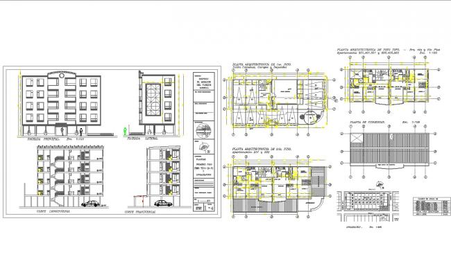 Modern multi family house plans in cad dwg files for House plan cad file